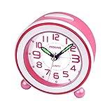 SOCICO Niños Despertadores,Despertadores Despertadores Analógicos para Niños Despertador Silencioso con Manos Luminosas Luz Nocturna para Niños Niñas y Bebés (Rosa)