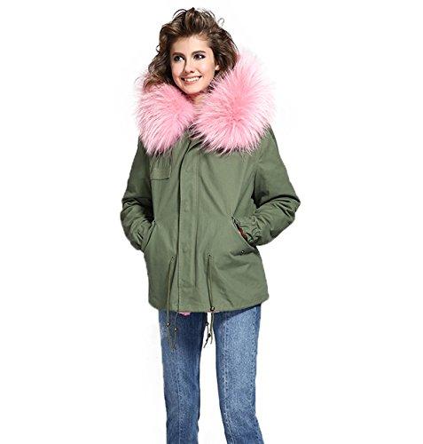 Damen PARKA XXL Kragen aus 100% ECHTPELZ ECHTFELL Jacke Mantel KURZ Khaki 9 Farben Pastelrosa
