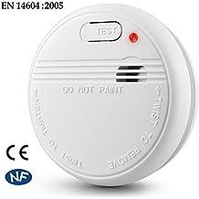 Detector de Humo Óptico Sensor Fotoeléctrico de Alarma de Incendios con Batería EN14604 (Blanco)