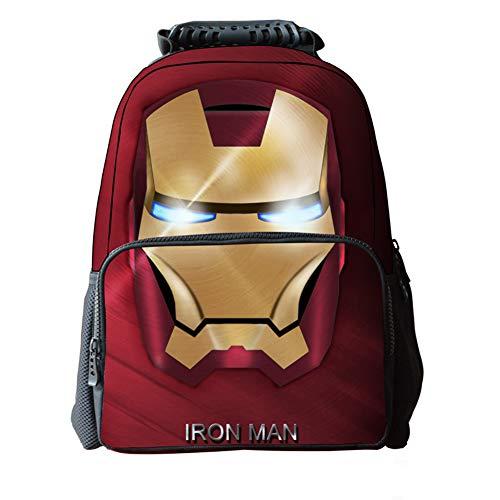LAWLAI Kinder Rucksack 3D Iron Man Student Tasche Outdoor Sport Persönlichkeit Taschen Für Jungen Und Mädchen