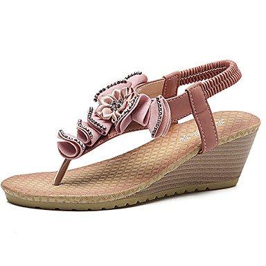 Donna Sandali estate fiore ragazza scarpe abito pu Tacco a cuneo volant NERO ROSA Blushing Pink