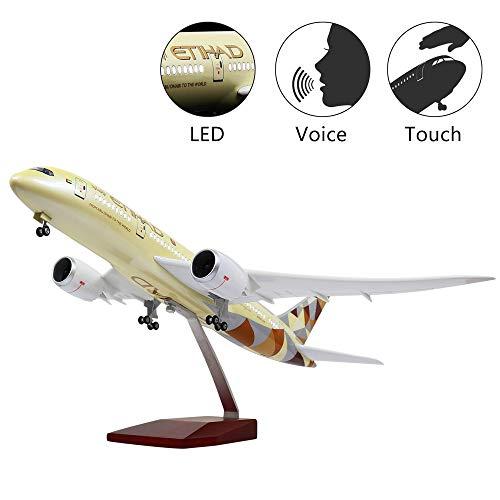 HANG OU 46cm LED-Beleuchtung 1:130 Modellflugzeug Etihad Boeing 787 mit Fahrwerk Flugzeug Geschenk oder Deko (Tippen Led-licht)