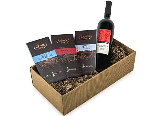 Geschenkset Genussbox 3 Tafeln Schokolade und Rotwein (1 x 0.75 l)