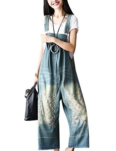 Youlee Damen Sommer Breites Bein Hose Denim Latzhose Overall Hosen Style 1 Blue