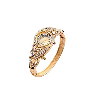 Shining Diva Fashion 18k Gold Plated Crystal Bangle Watch Bracelet for Girls and Women(Golden)(8323bw)