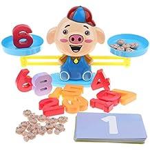 Homyl Juguete de Báscula de Equilibrio de Cerdo de Dibujos Animados Juego para Aprendizaje de Matemáticas