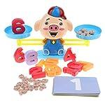 Homyl Montessori Jeux Balance en Bois Colorés Jouet éducatifs de Maths pour Enfants - Cochon