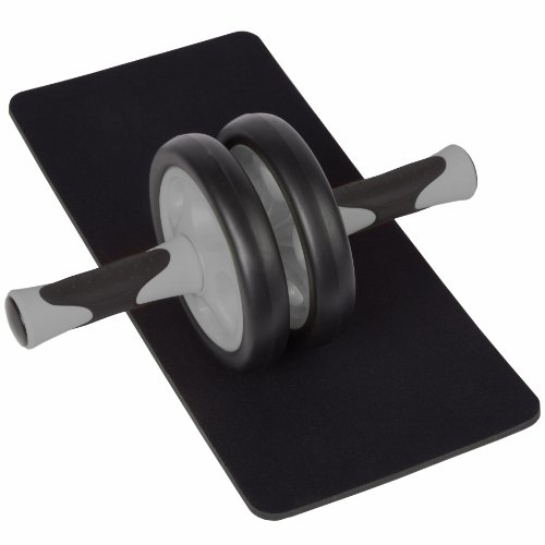 Ultrasport Aparato de abdominales AB Roller para mujeres, para fitness, musculación y pérdida de peso en el abdomen, las piernas y los glúteos; rodillo para abdominales AB con superficie de apoyo para las rodillas y manual de ejercicios, Negro