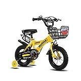 FINLR-Kinderfahrräder Jungen Mädchen Baby Kinderfahrräder Kind Tretfahrrad 4 Farben 12/14/16/18/20 Zoll Mit Stabilisatoren Und Flaschenhalter (Color : Yellow, Size : 14 inches)