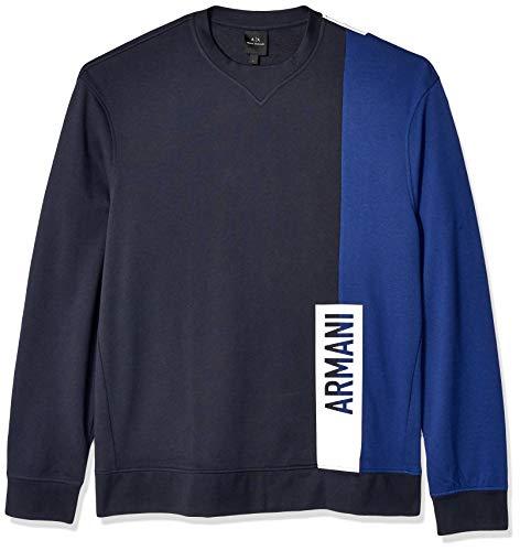Armani Exchange A|X Herren Long-Sleeve Crew Neck Sweatshirt, Navy W/Blue Depths, Groß Athletic Crew Pullover