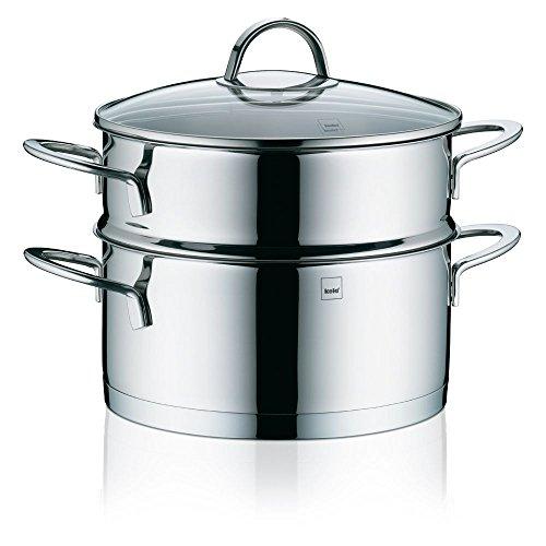 Kela 10994 cuiseur vapeur 3 pièces à superposer, acier inoxydable 18/10, diamètre 20 cm, 3 litres, 'Cailin'