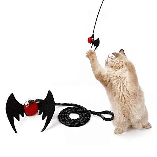 Aolvo Katzenspielzeug, Katzenspielzeug, Spinnen-Fledermaus-Design, Federn, Interaktives Spielzeug mit Glocke, Katze - Halten Sie Ihre Katze gesund und und geistigen Komfort (Stick-ball-fledermaus)
