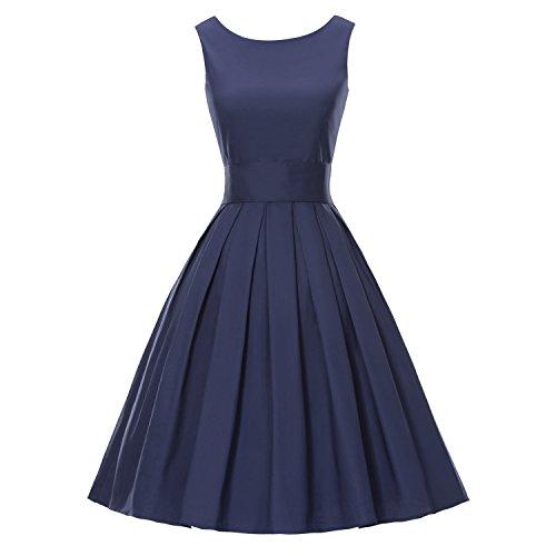LUOUSE Sommer Damen Ohne Arm Kleid Dress Vintage kleid Junger abendkleid,NavyBlue,XL