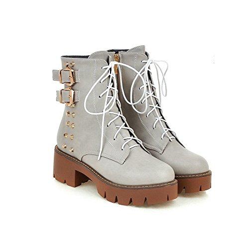 VogueZone009 Damen Gemischte Farbe Mittler Absatz Rund Zehe PU Leder Schnüren Stiefel, Grau, 36