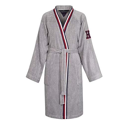 Accappatoio kimono con cappuccio tommy hilfiger tg s m l xl xxl 100% spugna puro cotone uomo donna (teddy grey, xl - 52/54)