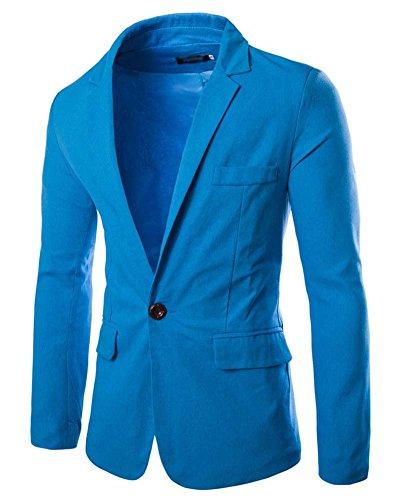 Slim Fit Giacca Uomo - Elegante Blazer - Vestito di Affari Giacca Outwear Azzurro del lago