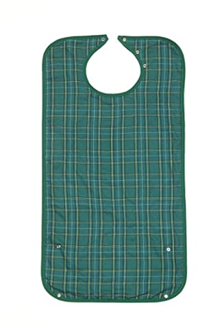 Clothing Protector/Bib Long Length Green with Crumb Catcher