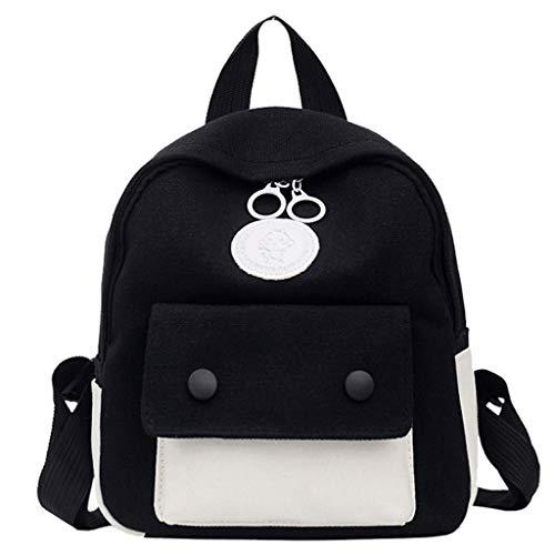 VECOLE Rucksäcke Damen Herren 2019 Canvas Bag Campus Student Schultertaschen Wild Messenger Bag Multifunktionsrucksack(Schwarz)