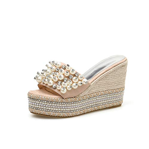 Sexy Platform Wedge (YAN Women es Wedge Slipper New Summer Fashion Beach Shoes Sandals Imitation Pearl Crystal Platform Shoes Black Beige,Beige,39)