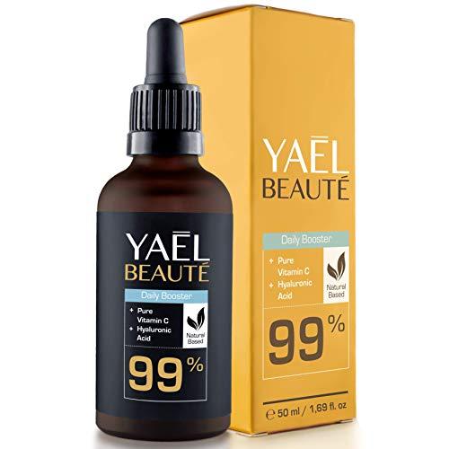 GANADOR DEL TEST 2018*: Sérum facial con Vitamina C y ácido hialurónico puro  efecto antiarrugas y antiedad  99% natural  vegano  para cuello y escote  50ml