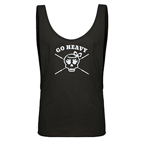 GO HEAVY Mujer Sport Sleeveless Loose Tank Top Girly Skull Negro Gr. M/L