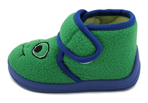 Slumberz Chaussons bottillons Boys velours Monster attache Velcro Vert - vert
