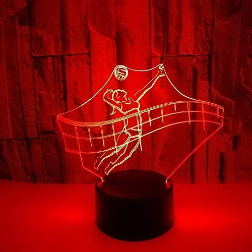Led Nachtlichter 3D, Sportfiguren Kleines 3D-Nachtlicht, das Volleyball spielt Beleuchtung De Mesa Led Nachtlicht 7 Color Touch Table Kids Lamp