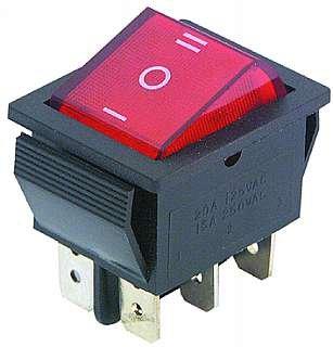 Wippenschalter. 6-polig. rot beleuchtete Wippe. 250V/15A. 3 Stellungen: EIN / AUS / EIN von NoName auf Lampenhans.de