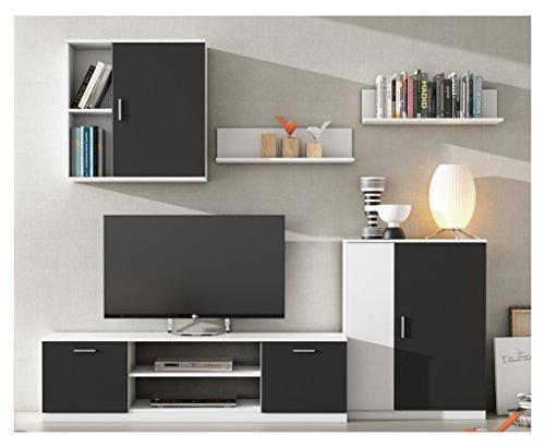 Mueble de salón moderno modular lacado blanco y negro.