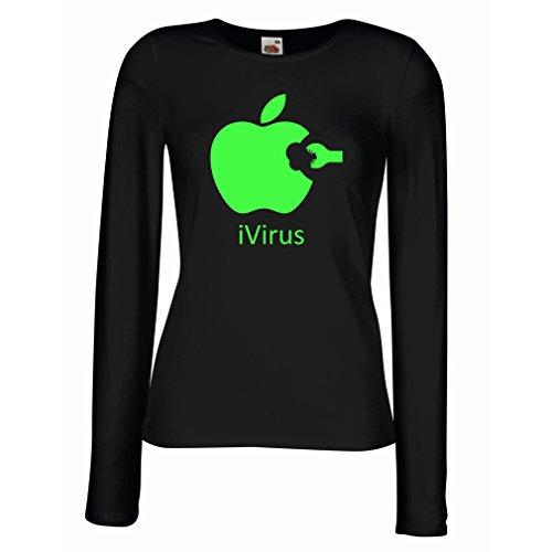 Weibliche Langen Ärmeln T-Shirt iVirus - Neues tech Liebhaber lustiges Geschenk (Large Schwarz Grün)