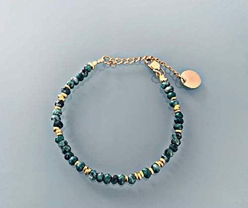 Ornamento di gioielli creoli e perline di giada e braccialetto d'oro, braccialetto di perline, idea regalo femminile, gioielli regalo