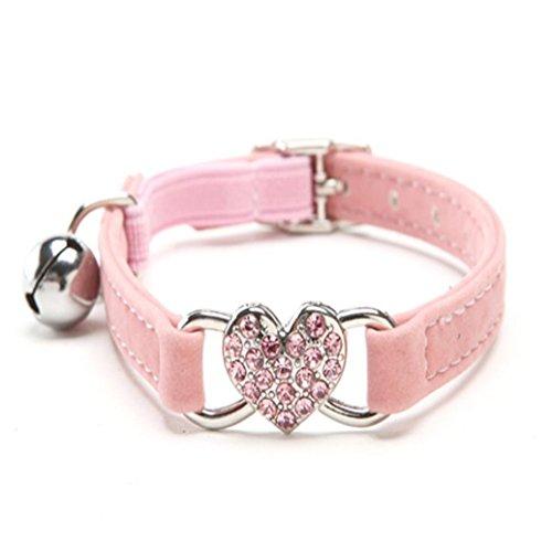 FORESTIME Cute Kristall Elastic Dog Halsband Samt Bell Herz Form Pet necklacce Hunde Halsbänder, One, Rose