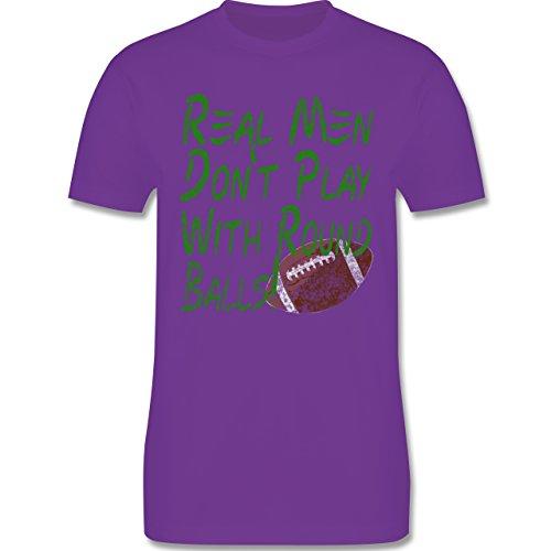 Football - Real men don't play with round balls - Vintage look - L190 Herren Premium Rundhals T-Shirt Lila