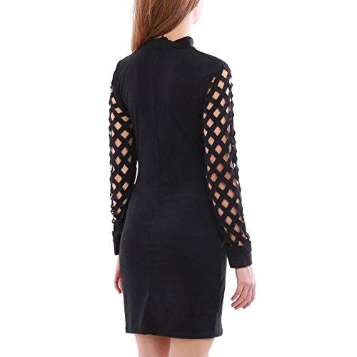 La Modeuse - Robe courteen suédine à manches longues et col montant Noir