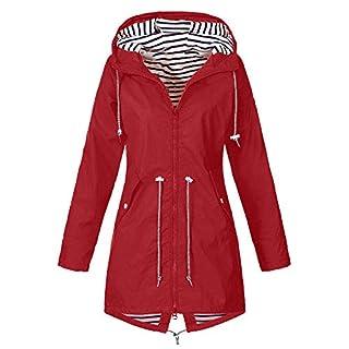 iHENGH Damen Herbst Winter Bequem Mantel Lässig Mode Jacke Frauen Herbst Langarm Mantel Fleece reißverschluss fliegen mit Kapuze einfarbig Sweatshirts(Rot, 4XL)