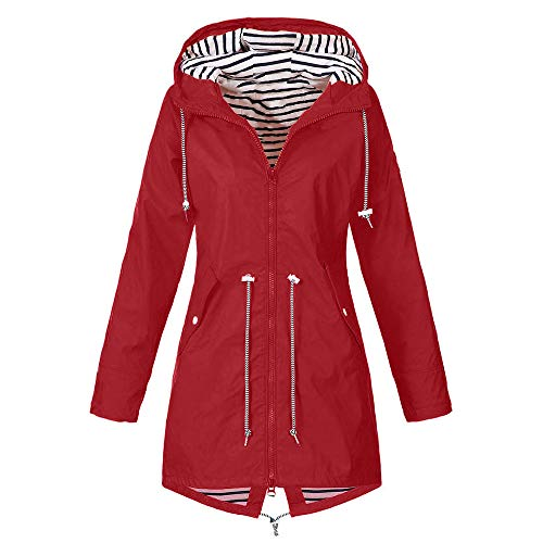iHENGH Damen Herbst Winter Parka Mantel Warm bequem Solide Regenjacke Outdoor Jacken Wasserdicht mit Kapuze Regenmantel Winddicht Coat (EU-46/CN-XL,Rot) (Damen Fell Hooded Down Coat)