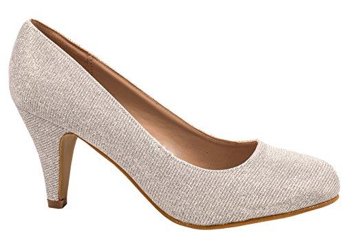 Elara Damen Pumps | Bequeme High Heels Glitzer | Hochzeit Stiletto A129-Silber-38