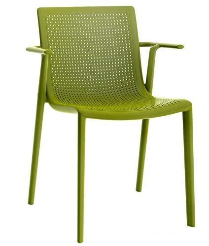 Resol Silla Beekat con Brazos - Color Verde Oliva, Set de 2...