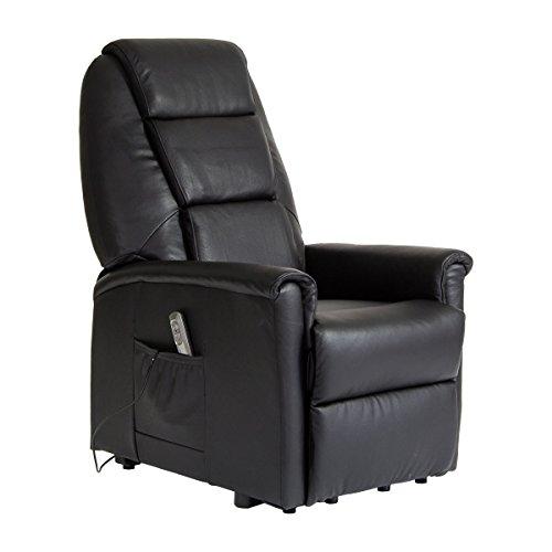 Meinrelaxsessel Sessel mit Aufstehhilfe DORTMUND, 2 Motoren. Bezug aus Leder in der Farbe Schwarz.