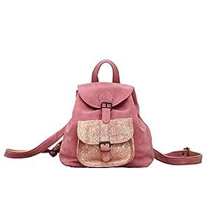 LE BAROUDEUR Polvo Rosa mochila de cuero de vacuno nubuck estilo vintage PAUL MARIUS