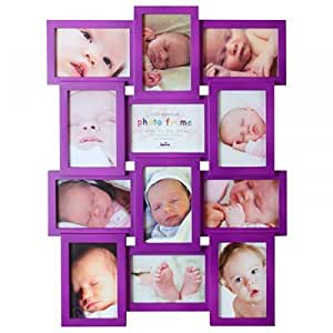 Cadre Multivue Naissance Spike violet pour 12 photos 10x15