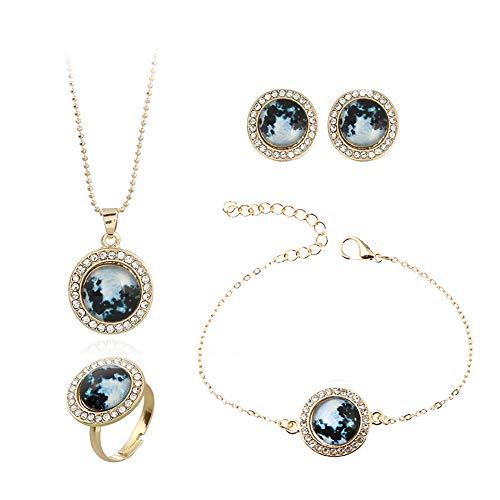 HSRG Accessories Damenschmuck Vierteiliges Set Leuchtender Sternenhimmel Halskette Anhänger Ohrring Ring Armband Zubehör,Blue