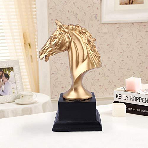 DSZXHN Skulptur Deko,Kreative Moderne Harz Gold Pferdekopf Tierischen Skulptur Gestaltete Figuren, Home Desktop Regal Handwerk Kunst Dekor Statuetten Für Innen Wohnzimmer Oder Büro -