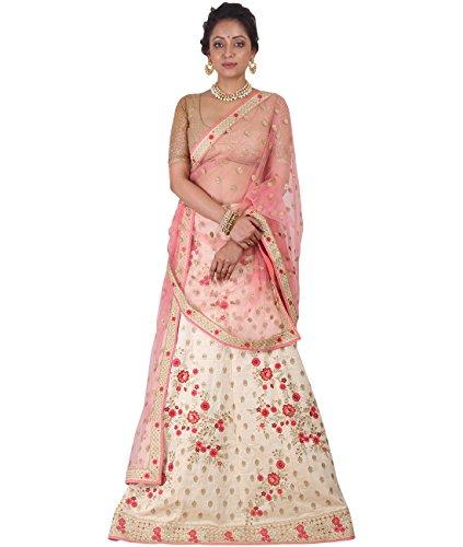 Indian Ethnicwear Bollywood Pakistani Wedding Off White A-Line Lehenga Semi-stitched-DIVISL020
