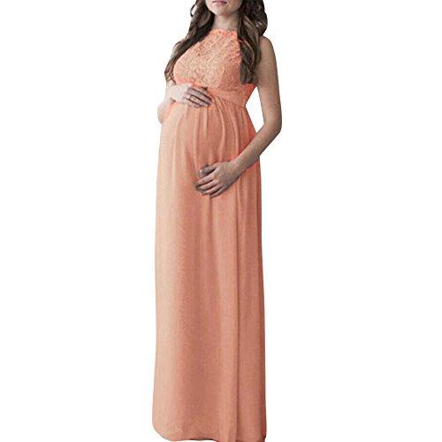 *Kleider Damen LUVERSCO Schwanger Frau Spitze Lange Maxi Kleid Mutterschaft Kleid Fotografie Requisiten Kleider Umstandskleid (Orange, XL)*