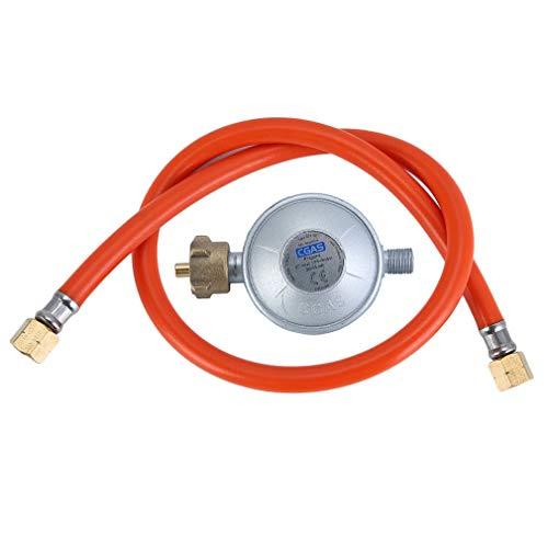 Kitechildhrrd Gas Niederdruckregler 30/50 mbar Druckregler Standard mit 80cm gasschlauch PropanGasschlauch (50mbar) -