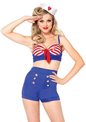 LEG AVENUE 85189 - Auf Deck Liebling Kostüm Set, 3-teilig, Größe S, rot/blau
