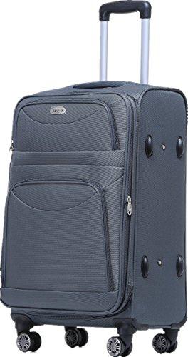 BEIBYE BEIBYE 8009 TSA Schloß Stoff Trolley Reisekoffer Koffer Kofferset Gepäckset (Grau, M)