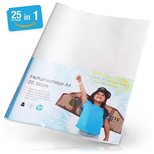 Heftumschlag Din A4 Transparent - 25 Stück inkl. Beschriftungsetikett - Perfekte Umschläge für den Schulbedarf - Heftschoner bieten Schutz für das Schulheft & Klassenarbeitsheft