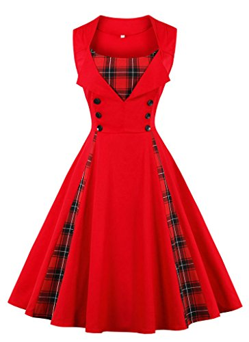 resses, Women's 1950s Vintage A-Line Cotton Swing Dress for Rockabilly Evening Party Cocktail, Multicolor, S-Plus Size 4XL (Damen 60s Fancy Dress)